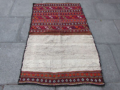 Old Hand Made Persian Oriental wool Red Colourful kilim 165x108cm