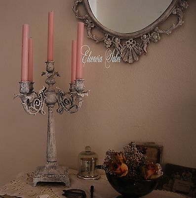 Candeliere candelabro stile gustaviano provenzale shabby chic antico frenchstyle