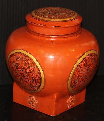 Vintage lacquerware Burma hand made ornate bowl jar gold mythical animal OLD box