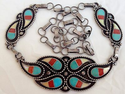 Vintage HEAVY Zuni Sterling Silver & Stone Inlay Dangle Panel Necklace