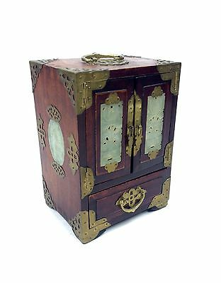 Chinese Wooden Jewellery Box Cabinet With Brass Hardware Oriental Design