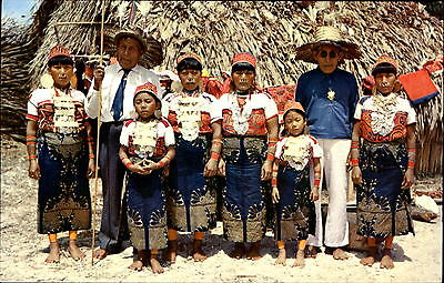 San Blas Indian Chiefs with families ~ regalia costume Panama ~ stamps