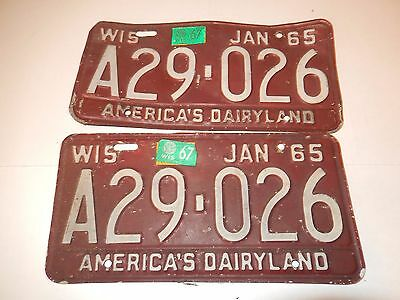 Vintage Set Of Two Wisconsin License Plates 1965 Matching Set