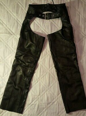 Womans Xelement Black Leather Motorcycle Chaps Size 2 Adjustable Belt Braided