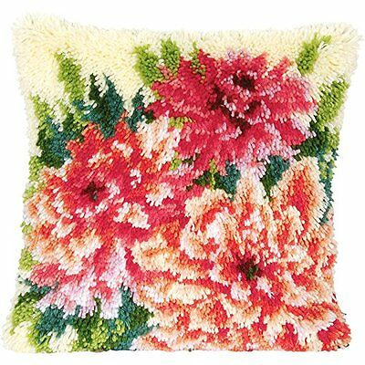 "Latch Hook Complete Cushion Cover Kit""Bright Dahlias""43x43cm"