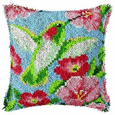 "Latch Hook Complete Cushion Cover Kit""Humming Bird"" 43x43cm"