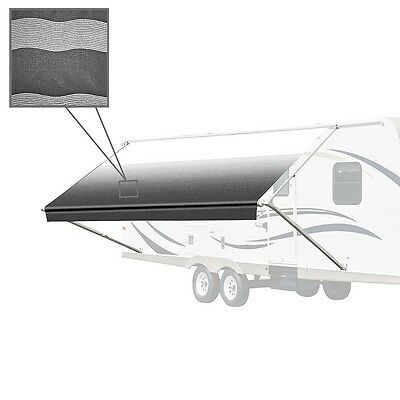 ALEKO Retractable RV or Home Patio Awning Black Stripes Color 12Ft X 8Ft