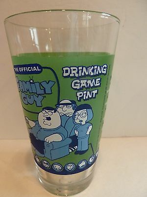 """THE OFFICIAL Family Guy DRINKING GAME PINT Glass~Rules on Glass~6"""" H~Holds 16 oz"""