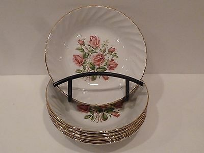 ROYAL WESSEX By Swinnertons Set of 6 FRUIT~SAUCE Bowls~Pink Roses~Swirl/Gold Rim