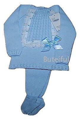Spanish 2 Piece Lace & Satin Bow Cable Knitted Set/Outfit Newborn 0-3 3-6 Month
