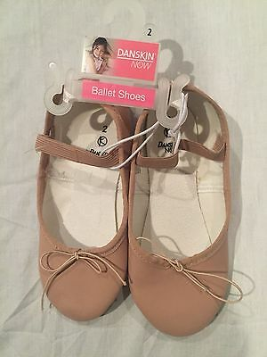 NWT Girls DANSKIN BALLET Shoes Slippers, Pink, Size 2, FREE SHIPPING
