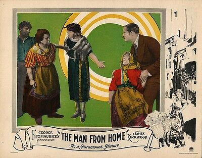 ALFRED HITCHCOCK / THE MAN FROM HOME (1922) Lobby card ft. Hitchcock design