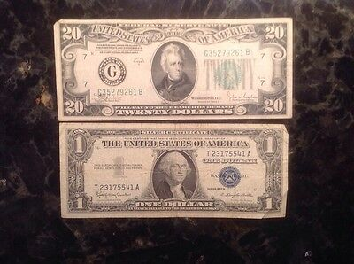 1934 C $20 Federal Reserve Note - Chicago Pos O.P. + 1957B $1 Silver Certificate