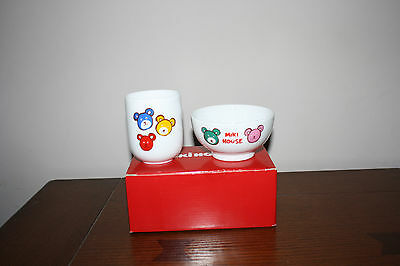 MikiHouse CHILD'S BOWL AND CUP Teddy bear design -SO CUTE-UNUSED
