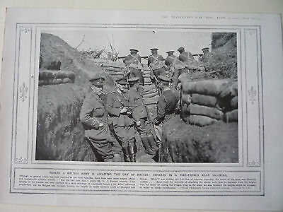 """1916 Ww1 Print. """" Where A British Army Is Awaiting The Day Of Battle. """"  Rare"""