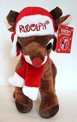 """Rudolph the Red Nosed Reindeer Christmas Plush 11"""" w/Hat & Scarf NWT"""
