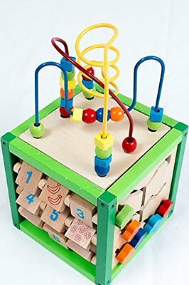 Wooden Activity Cube Bead Maze Learning Educational Center Kids Toddler Play Toy