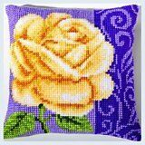 "Latch Hook Complete Cushion Cover Kit""Rose on Purple Background"" 43x43cm"
