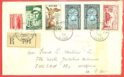 France Colony Algeria 6 stamp used on Registered cover to USA