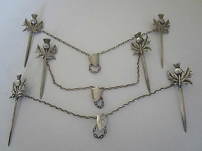 Victorian Silver Plated Meat Skewers..Scottish Thistles..Set of 3..Circa 1890..
