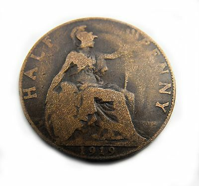 King George V 1919 HALFPENNY in well circulated condition