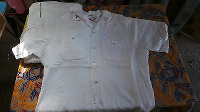 RARE CHEMISE BOWLING KING LOUIE 50's BLANCHE BRODER TAILLE M   M.IN USA  B ETAT