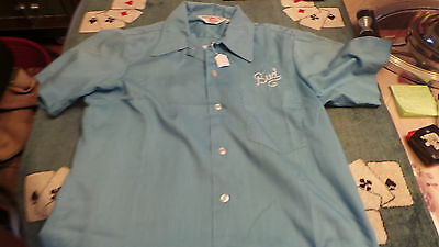 RARE CHEMISE BOWLING 50's BRODER BLEU TAILLE M MADE IN USA TRES BONNE ETAT