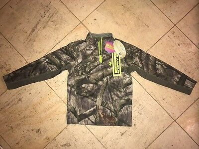 NWT $70 Under Armour Mossy Oak Treestand Camo 1/2 Zip Pullover Jacket - Youth XS