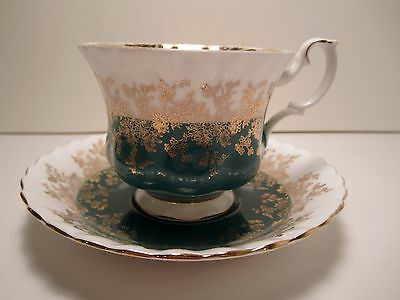 "Royal Albert English China Cup&Saucer  ""Regal Series ""  Teal  Gold Pre Ow"