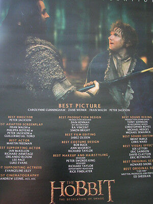 Hobbit Desolation of Smaug Bilbo Baggins Martin Freeman Oscar Ad  SALE