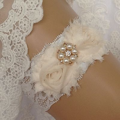 Shabby Chic, Ivory Lace & Pearl Bridal Garter, Wedding Bride