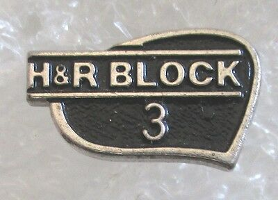 Vintage H & R Block Tax Specialists 3 Year Employee Service Award Pin-Sterling