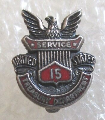 Vintage Treasury Department 15 Year Service Sterling Pin-US Government Employee