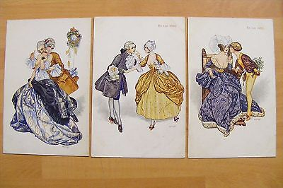 3 Vintage French Herouard Glamour Postcards The Happy Hour & 1450 & 1760 GC