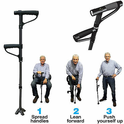 Folding Walking & Standing Cane Black Stick with Torch Light & Height Adjustable