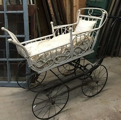 Vtg ANTIQUE VICTORIAN  BABY STROLLER Coach Buggy Stick & Ball Beoch