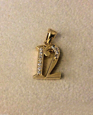 Seattle Seahawks Ladies Number 12 Pendant 12th Man Fancy 24k Gold Plated w/ CZ
