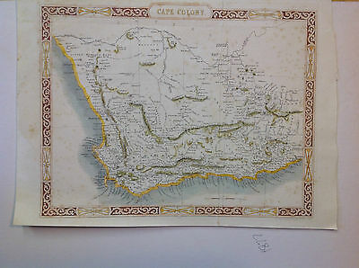 """DRAWN & ENGRAVED BY RAPKIN - """"CAPE COLONY"""" - SOUTH AFRICA  MAP  (c.1840-1850)"""
