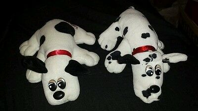 Vintage 80s Tonka Pound Puppies Puppy Lot Of 2 Small Plush Spotted Dalmatian