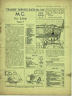 MG Y-TYPE 1.25-Litre, 1947/48 Motor Trader Service Data No 144, M.G. Series Y