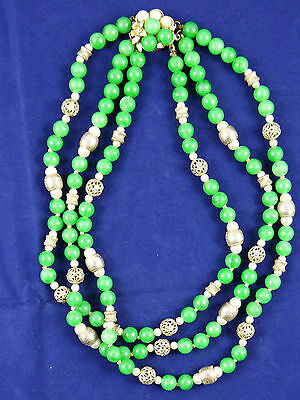 Beautiful Green Plastic Beads Necklace Triple Row  (N010)