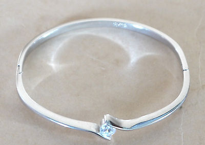 Vintage Bangle Bracelet 18 K Gp & Crystal Gold Plated Stamp Great Design