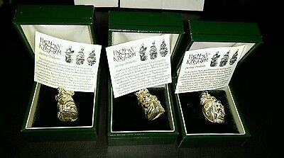 harmony kingdom set of three limited edition solid silver .925 charms, boxed