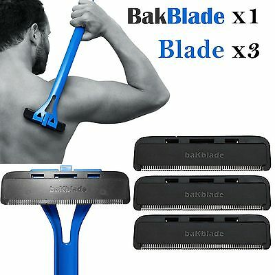 Bakblade Back Shaver Razor Shaving Mens Hair Removal Handle + Replacement Blades