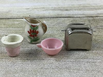 Dollhouse Miniature Toaster Pitcher Teacup And Flower Pot