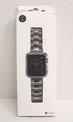 Monowear Silver Metal Link Band Polished Silver Adapter 42MM for Apple Watch