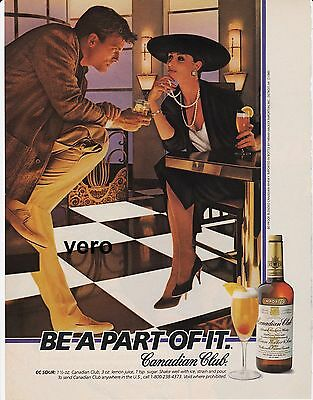 1985 magazine ad CANADIAN CLUB whisky retro style WINSTON cigarettes helicopter