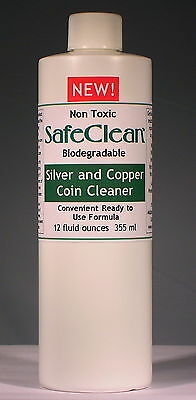 New! SafeClean Coin Cleaner for Silver and Copper Coins. 12 fl. ounces. 355 ml.