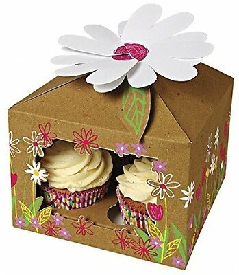 10 x House Shaped Cupcake Box Brown Holds 4 Cakes Flower Design Muffin Box