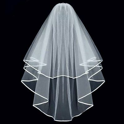 KLOUD City®White Double ribbon Edge Center Cascade Bridal Wedding Veil with Comb